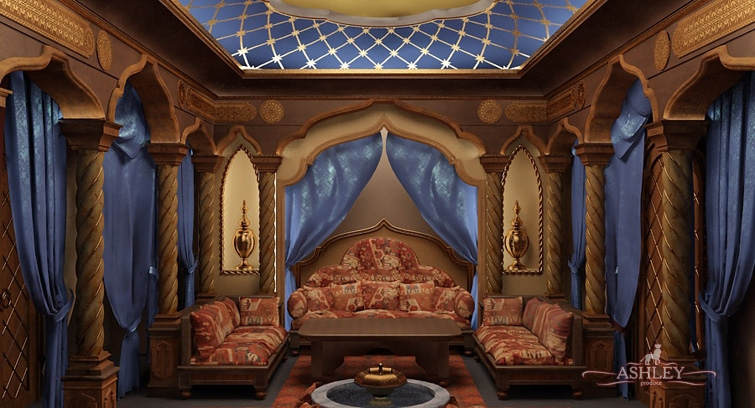 Зал в восточном стиле фото